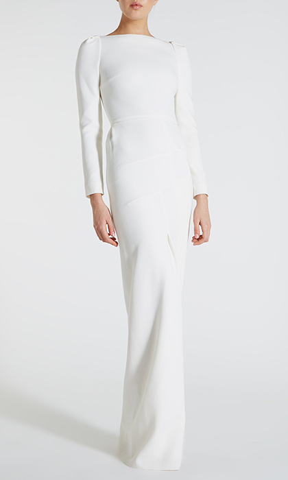 The $4,600 Roland Mouret Ella gown, with pleated details at the shoulder and an asymmetrical zipper on the back, is made from wool and lined with silk. The look has been worn by Kate Middleton, who donned the style along with a Zara necklace for the premiere of <I>Mandela: Long Walk to Freedom</I> in 2013.