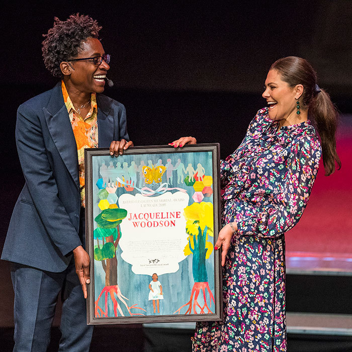 Crown Princess Victoria of Sweden shared a laugh with author Jacqueline Woodson during the 2018 Astrid Lindgren Memorial Award ceremony. The author was being honoured at the children's literature awards, which was held at the Stockholm Concert Hall on May 28.