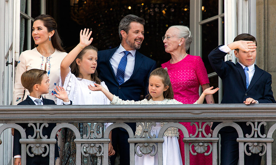 Crown Prince Frederik of Denmark couldn't have looked happier surrounded his family on the balcony of Amalienborg Palace in Copenhagen. Joining him to celebrate his 50th birthday were his mother Queen Margrethe, wife Crown Princess Mary and his four children: Prince Christian, 12, Princess Isabella, 11 and seven-year-old twins Princess Josephine and Prince Vincent. 