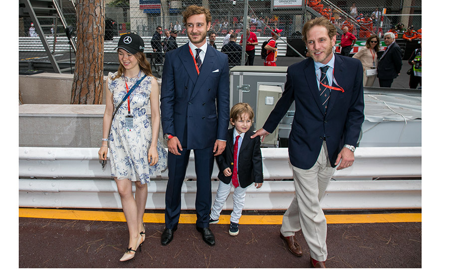 While Princess Caroline was absent from the Formula One festivities, she was well represented by her children and grandson. Her kids Princess Alexandra of Hanover, left, Andrea Casriaghi, far right, and Pierre Casiraghi kept an eye on little Sacha, five, son of Andrea and wife Tatiana. 