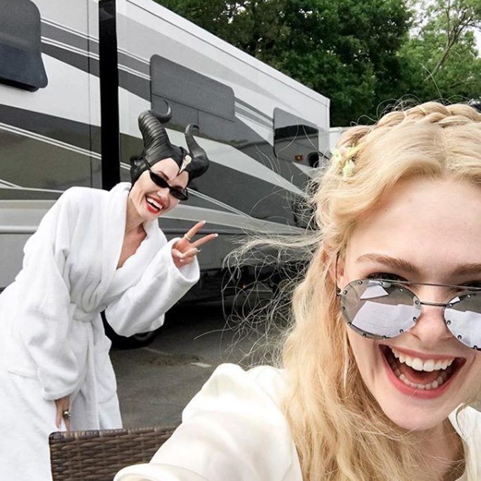 "Elle Fanning and Angelina Jolie are back on set for <i>Maleficent 2</i>. The blonde beauty shared a photo from set with the caption: ""It's bring your mom to work day on the #Maleficent2 set!!!!!""
