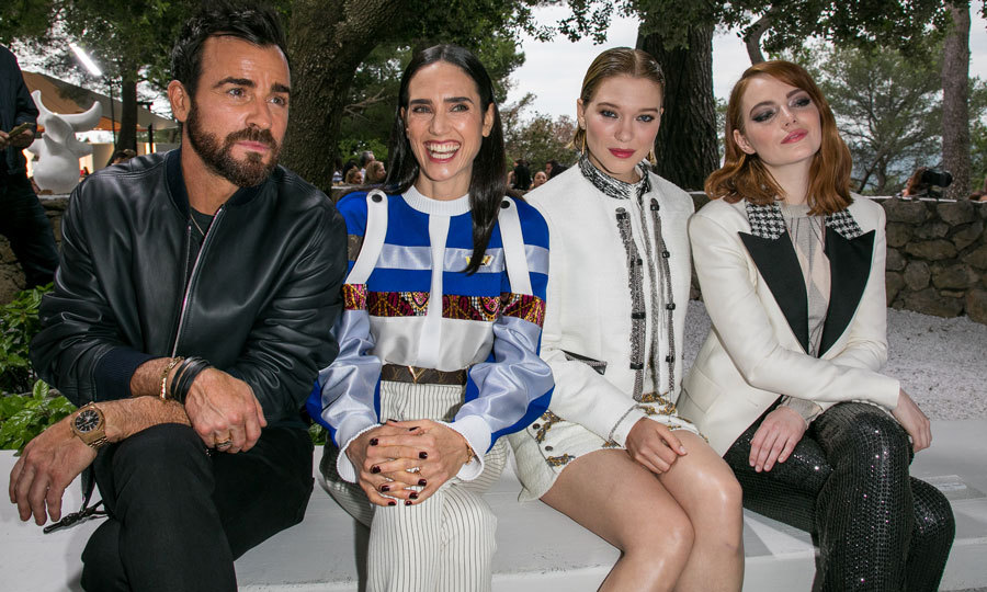 Justin Theroux was one lucky guy sitting alongside Jennifer Connelly, Lea Seydoux and Emma Stone at the Louis Vuitton 2019 Cruise Collection at Fondation Maeght in Saint-Paul-De-Vence, France.