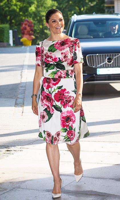Sweden's future queen Crown Princess Victoria looked ready for summer in a floral dress as she attended a meeting at the Museum of Modern Art in Stockholm.