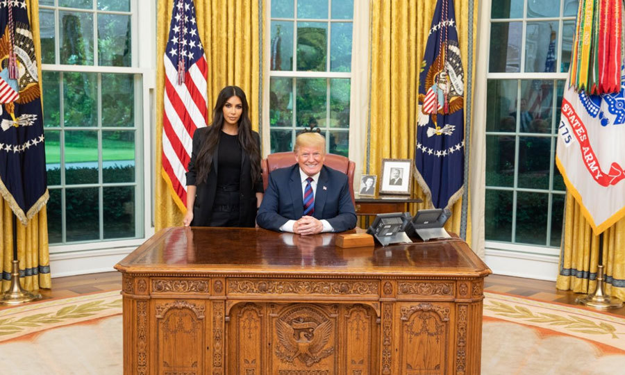 "Donald Trump had a very famous visitor in the Oval Office. Kim Kardashian joined the president to discuss prison reform and sentencing. The 37-year-old, who dressed in all black for the occasion, shared in a statement: ""I would like to thank President Trump for his time this afternoon. It is our hope that the President will grant clemency to Ms. Alice Marie Johnson who is serving a life sentence for a first-time, non-violent drug offense. We are optimistic about Ms. Johnson's future and hopeful that she — and so many like her — will get a second chance at life.""