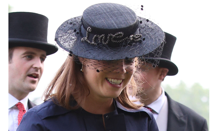 "Royal bride-to-be Princess Eugenie, who is set to marry Jack Brooksbank in October, wore her heart on her sleeve – well actually, her head! – with this veiled hat embroidered with the word ""Love"". Sarah, Duchess of York's daughter wore the romantic topper to the Queen's Garden Party at Buckingham Palace on May 31.
