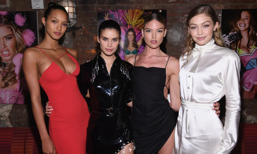 Lais Ribeiro, Sara Sampaio, Martha Hunt and Gigi Hadid struck their best pose for the camera while supporting their friend and photographer Russell James at his book <i>Backstage Secrets</i> launch at The Beekman.
