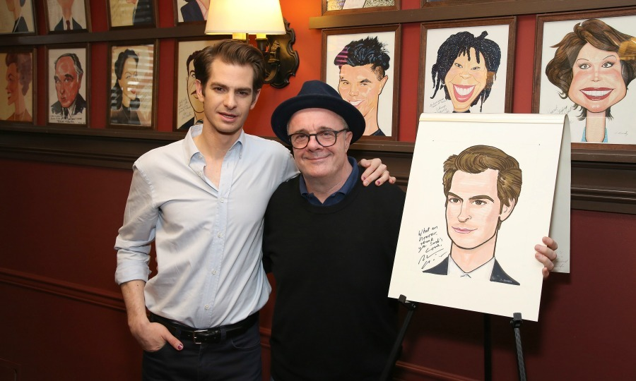 Garfield sandwich! Andrew Garfield was honored with a portrait at NYC's famous restaurant Sardi's on May 31. Nathan Lane joined his Broadway co-star for the special unveiling ceremony.