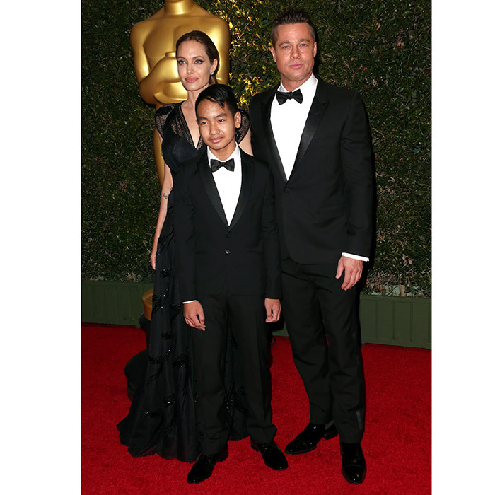 Wearing a cool tuxedo, Maddox enjoyed a golden night out with his mother and father at the Academy of Motion Picture Arts and Sciences' Governors Awards, held at the at The Ray Dolby Ballroom in Hollywood in November 2013. 