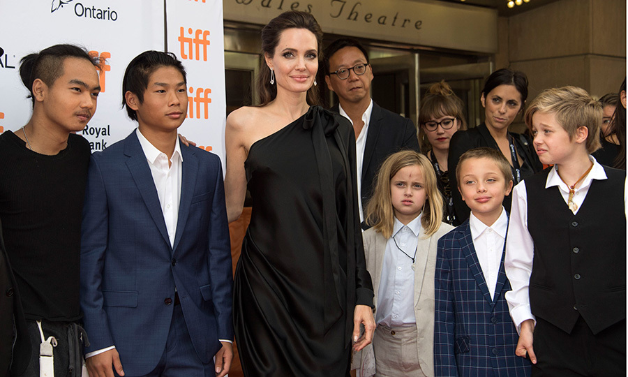 Almost all the gang was together for this shot, taken at the premiere of <I>First they Killed my Father</I> at the Toronto International Film Festival in September 2017. Posing sans Zahara, Angelina is surrounded by, left to right, Maddox, Pax, twins Vivienne and Knox, and last but not least, Shiloh.