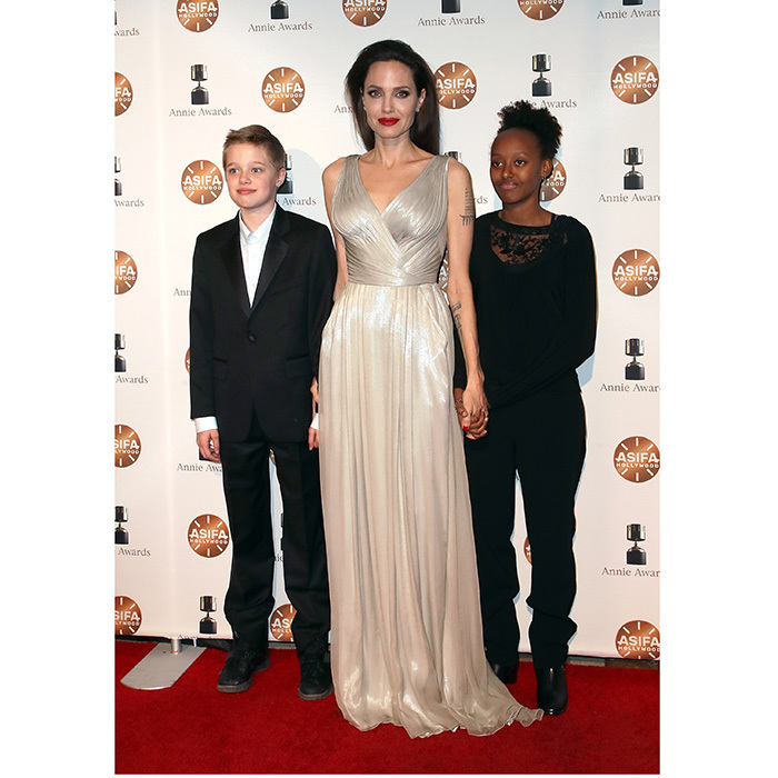 A goddess and her little angels! Angelina was joined by Shiloh and Zahara for the 45th Annual Annie Awards at Royce Hall on February 3, 2018 in Los Angeles.