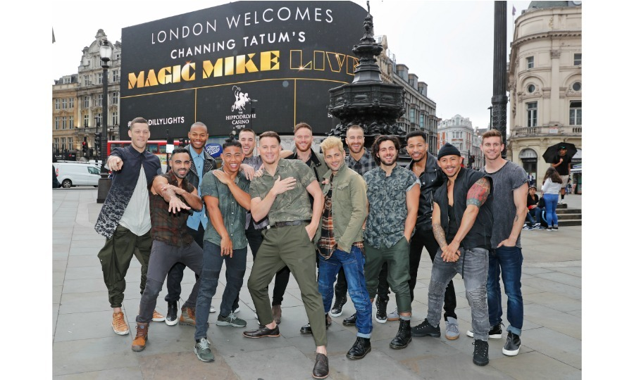 Going live! Channing Tatum and the <i>Magic Mike Live</i> dancers had some fun taking photos in front of a digital sign welcoming them to London on Monday, June 4.The 38-year-old actor had stopped by <i>Britain's Got Talent</i> over the weekend to announce that the show would open in London in November.