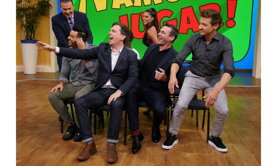 Celebrity musical chairs! Ed Helms, Jon Hamm and Jeremy Renner played a rousing round of the childhood game while on <i>Despierta America</i> at Univision Studios to promote their film <i>TAG</i> on June 4 in Miami. 