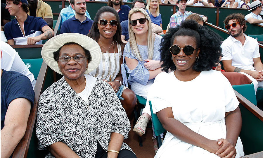 <i>Orange is the New Black</i> star Uzo Aduba, right, enjoyed a family day out at the French Open with her mother Nonyem Aduba, left, sister Chi-Chi Aduba, back row left, and sister-in-law Brittany Aduba. The women checked out the action on Day Seven at Roland Garros in Paris.