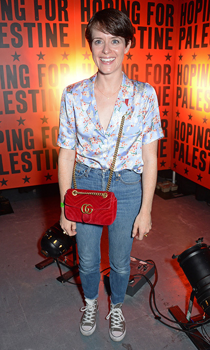 We're more used to seeing her in the Queen's regal wardrobe on <I>The Crown</I>, but Claire Foy was dressed down in jeans for a concert in aid of Palestinian refugee children at The Roundhouse on June 4 in London.