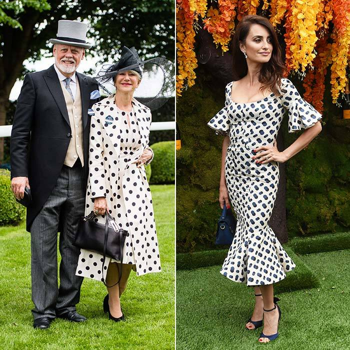 Equestrian season means polka dots! Both Helen Mirren and Penelope Cruz opted for the fun print, even though they were at different horse events on either side of the Atlantic. Dame Helen attended the Epsom Derby in England with husband Taylor Hackford, while Penelope wore flamenco-inspired Zac Posen to the Veuve Clicquot Polo Classic in NYC.
