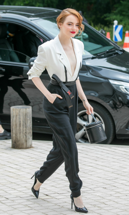 Emma Stone exuded chic Parisian style as she stepped out for the city of love's LVMH Prize 2018 Edition at Louis Vuitton Foundation on Wednesday, June 6. The Oscar-winner looked stunning in the tailored androgynous ensemble, which was monochromatic Louis Vuitton from head to toe. 