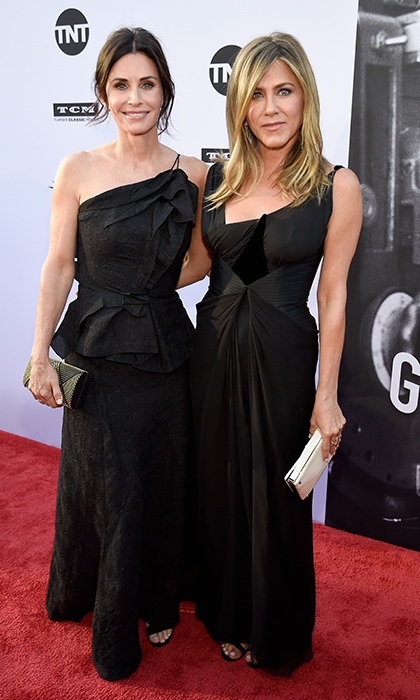 "George's good pals Courteney Cox and Jennifer Aniston were also on hand to celebrate, wearing nearly-matching black gowns. On stage, they joked about how in the 1990s, the <I>Friends</I> Thursday night lead-in before <I>ER</I> helped launch his career success on the show.  ""Without us you're <I>Chicago Hope</I>, buddy,"" Courteney quipped.