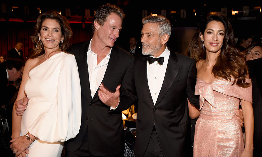 A George Clooney party wouldn't be a party without his BFF and Casamigos partner Rande Gerber and wife Cindy Crawford. The couple were right there alongside their great friend on his big night. 