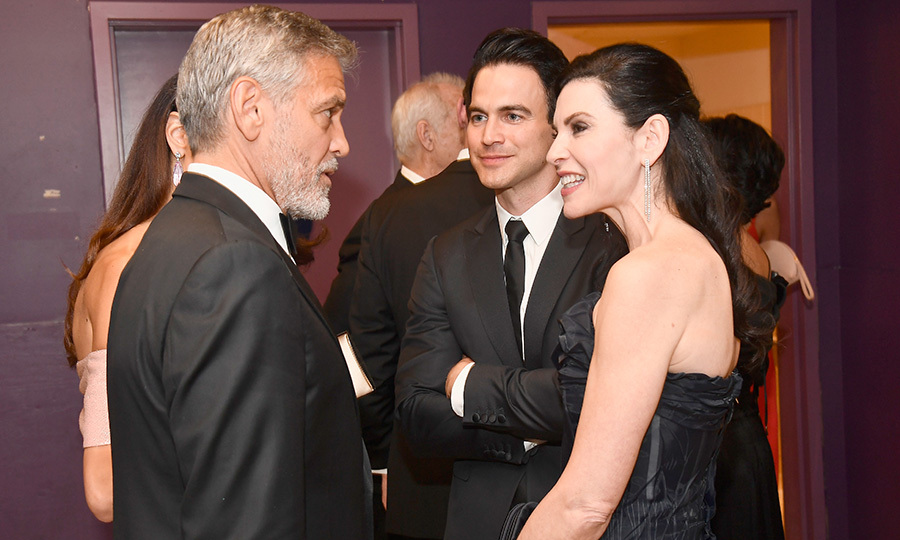It's an ER reunion! George and his leading lady on the hit medical drama Julianna Margulies got caught up along with her husband Keith Lieberthal. 