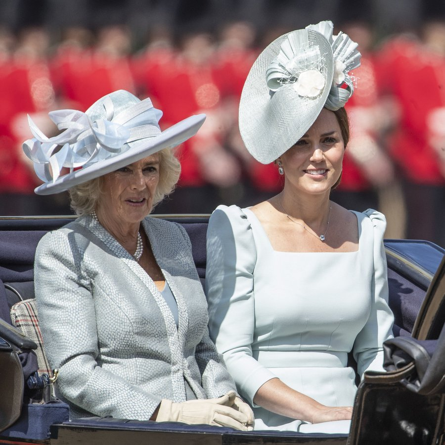 For the carriage ride which kicked off the day, Kate Middleton and her stepmother-in-law Camilla Parker Bowles both wore minty pastels. 