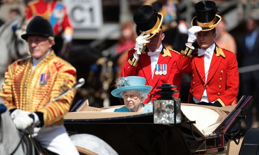 Queen Elizabeth, attending her 66th parade as sovereign – a record unmatched by any other British monarch – cut a solitary figure during the carriage ride. Her Majesty's husband, Prince Philip, the Duke of Edinburgh, who turns 97 on Sunday, June 10, was unable to take part in the parade.