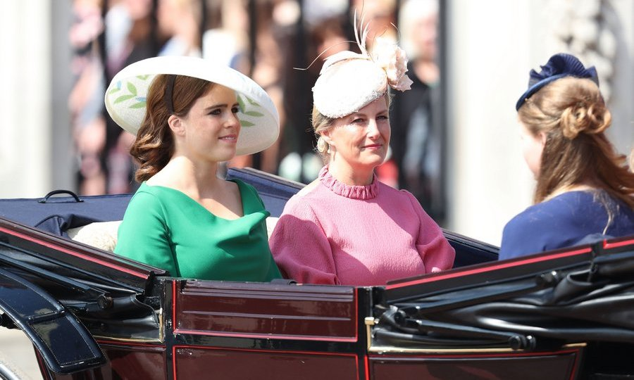 Sophie Wessex rode in a carriage with her nieces Princess Eugenie and Princess Beatrice, as well as her 14-year-old daughter Lady Louise. All four wore hats, of course, in line with Trooping the Colour's royal style rules.