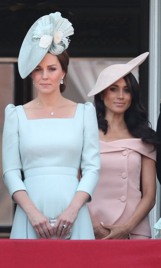 On the balcony, we had a clearer view of Meghan and Kate's beautiful pastel Trooping the Colour wardrobes – the Duchess of Sussex in pink Carolina Herrera dress with the CH Carolina Herrera Metropolitan clutch and the Duchess of Cambridge in her favourite, Alexander McQueen.