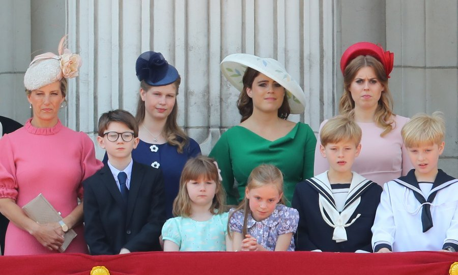 Sophie Wessex, daughter Lady Louise Windsor, Princess Beatrice and Princess Eugenie, who arrived together in the same carriage, stood side by side on the balcony of Buckingham Palace.