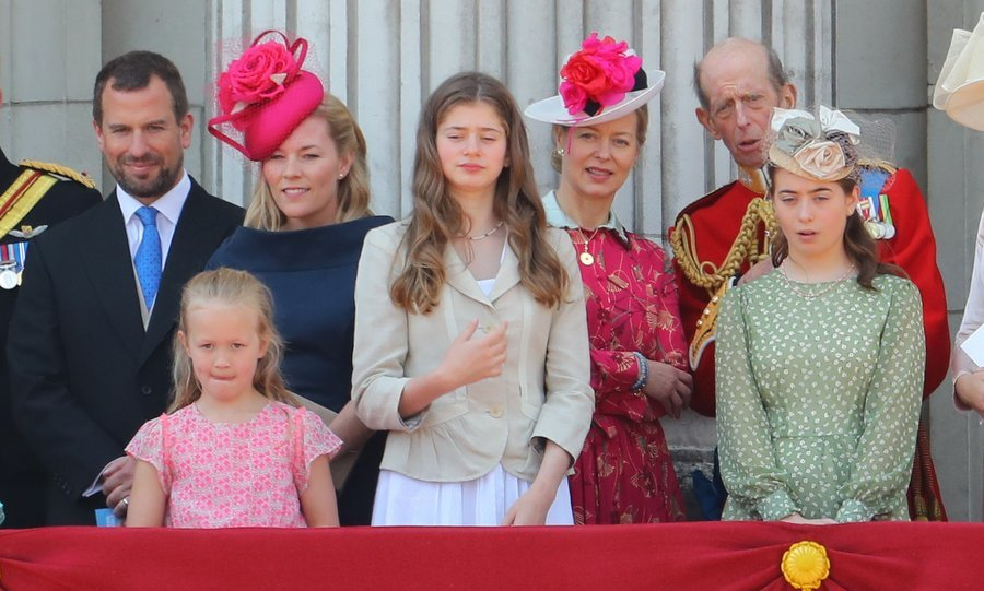 Queen Elizabeth's grandson Peter Phillips and his wife Autumn were also on the balcony, back row left, as was Lady Helen Windsor, back row right, standing alongside the Duke of Kent.
