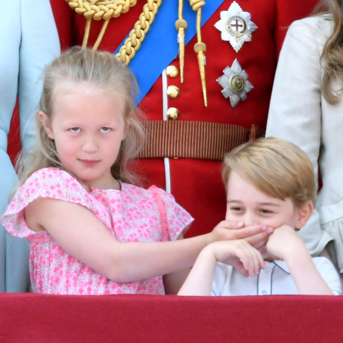 Savannah Phillips had some fun with her cousin Prince George. Peter and Autumn's daughter put her hand over the future monarch's face during the flypast.