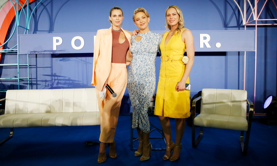 "Kate Hudson and her two best friends Sara and Erin Foster spoke during the POPSUGAR Play/Ground in NYC. During their discussion,the pregnant star shared with guests that her daughter was ""massively kicking."" 