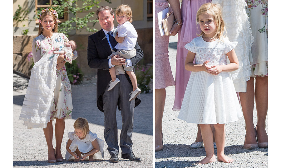 Four-year-old Princess Leonore of Sweden, right, stole the show at her little sister Princess Adrienne's Stockholm christening, kicking off her shoes and playing in the gravel outside Drottningholm Palace Chapel. Leonore was joined by her family – mother Princess Madeleine, holding Adrienne, father Christopher O'Neill and brother Prince Nicolas.