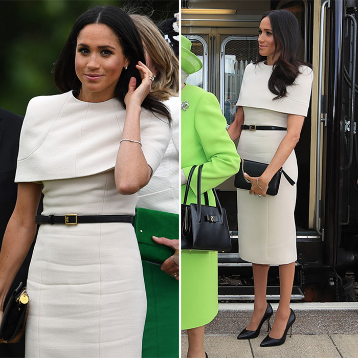 Newlywed Meghan opted for a tailored cream cape dress by her wedding gown creator Givenchy as she joined Queen Elizabeth for their first-ever joint engagement as a pair on June 14 in Cheshire, England. The chic look, which fits right in to the Duchess of Sussex's famous minimalist style, was cinched at the waist with a black belt, and Meghan accessorised with a black handbag and stiletto heels. 
