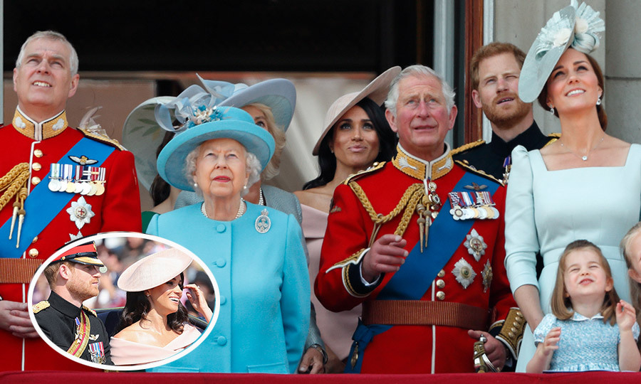 Unlike sister-in-law Kate for her 2011 debut, the Duchess of Sussex stood in the center of the Buckingham Palace balcony – although a row behind the Queen – next to husband Prince Harry and the Duchess of Cornwall in 2018. Meghan and Harry had ridden together in the same carriage during the parade, inset.   