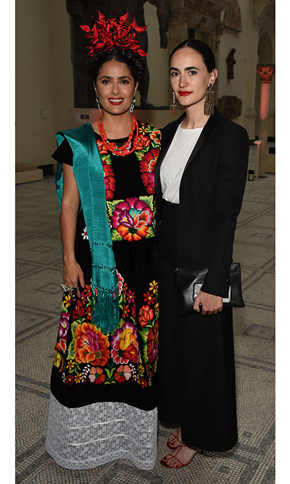Salma Hayek, who famously played Frida Kahlo on the big screen, channelled the iconic artist as she joined Frida Escobedo at a private view of 'Frida Kahlo: Making Her Self Up' at The V&A in London on June 13.