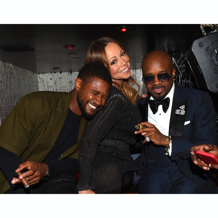 Jermaine Dupri had two of his longtime friends celebrate with him at his So So Def 25 and Songwriters Hall of Fame Induction party at GoldBar in NYC. Usher and Mariah Carey got comfortable at the fête toasted by Moet & Chandon with DJ M.O.S. playing his hit songs. 