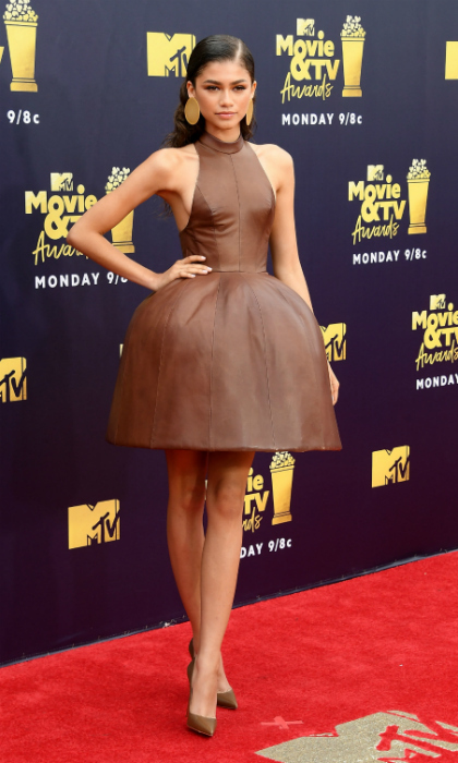 Zendaya turned heads in a unique August Getty dress, which resembled a Hershey's Kiss. The 21-year-old <i>The Greatest Showman</i> star presented during the awards show, which was pre-taped.