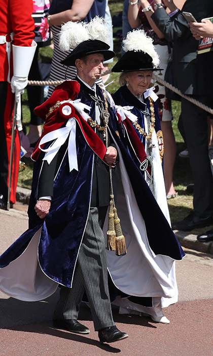 The Duke and Duchess of Kent also took part in the procession outside Windsor Castle. While the Order dates back to 1348, the formal ceremony was revived by Queen Elizabeth's father King George VI in 1948.