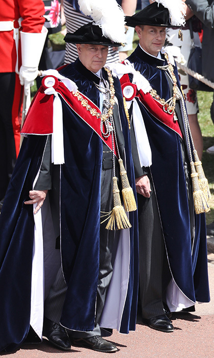 All four of the Queen's children attended the Windsor ceremony. Here, Prince Andrew, left, and Prince Edward are seen wearing the traditional blue velvet robe and feathered Tudor bonnet. The Duke of York and the Earl of Wessex were both appointed to the Order in 2006.