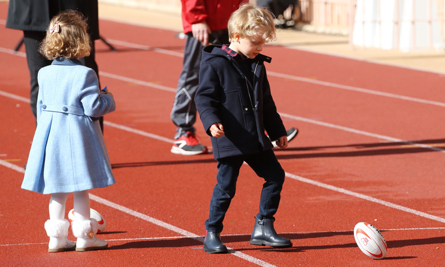 March 2018: Prince Jacques and Princess Gabriella showed their athletic skills on the track during the International Rugby Tournament Tournoi Sainte Devote at the Louis II Stadium in Monaco. The duo, who wore complementing shades of blue, kicked around the ball when they weren't in the stands watching the match.