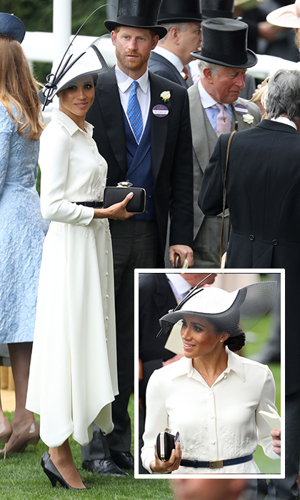The Duchess of Sussex loves a great neutral! The royal opted for both a favourite shade – cream – and a favourite designer, Givenchy, for her first-ever appearance at Royal Ascot on June 19. The delicately embroidered shirt dress was accessorised with black pumps, a box clutch and dramatic black and white Philip Treacy hat. 