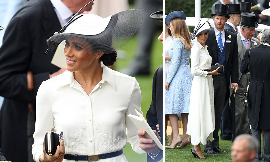 On their one-month anniversary, Meghan Markle joined her husband at the Royal Ascot 2018. The Duchess of Sussex stunned in a white Givenchy shirtdress for the occasion and was in charge of helping present the winning jockey Frankie Dettori his trophy. Meghan complemented her look with a fascinator by royal favorite Philip Treacy.