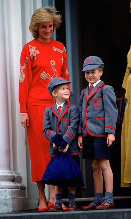 Off to school! In September 1989, Prince William and his little brother were adorable in their school uniforms as they headed to class at Wetherby School on little Harry's first day.