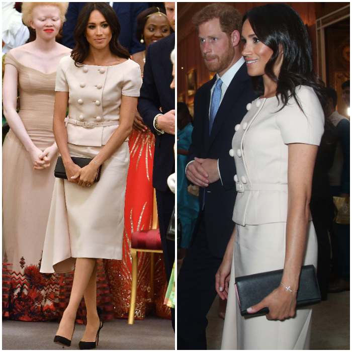 The Duchess wears Prada! Meghan Markle wore a custom light pink cap-sleeved, double-breasted dress with buttons by the fashion house to the Queen's Young Leader Awards at Buckingham Palace on June 26. The former actress paired the look with black Aquazurra pumps and a Prada Saffiano clutch, and those trusted stockings.