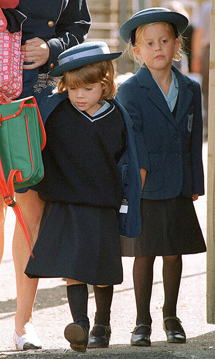 It was time for little Princess Eugenie's first day of school in September 1994. Of course, when she made her Upton House School debut in Windsor, her big sis Princess Beatrice was right there by her side. 