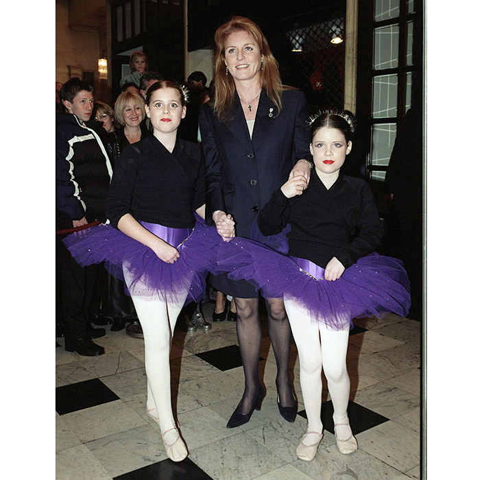 Beatrice and Eugenie were sweet ballerinas as they arrived with their mother to the Santa's Starry Night Show at the Drury Lane Theatre in London. The December 1999 show was to benefit the Children In Crisis charity founded by Sarah, Duchess of York.