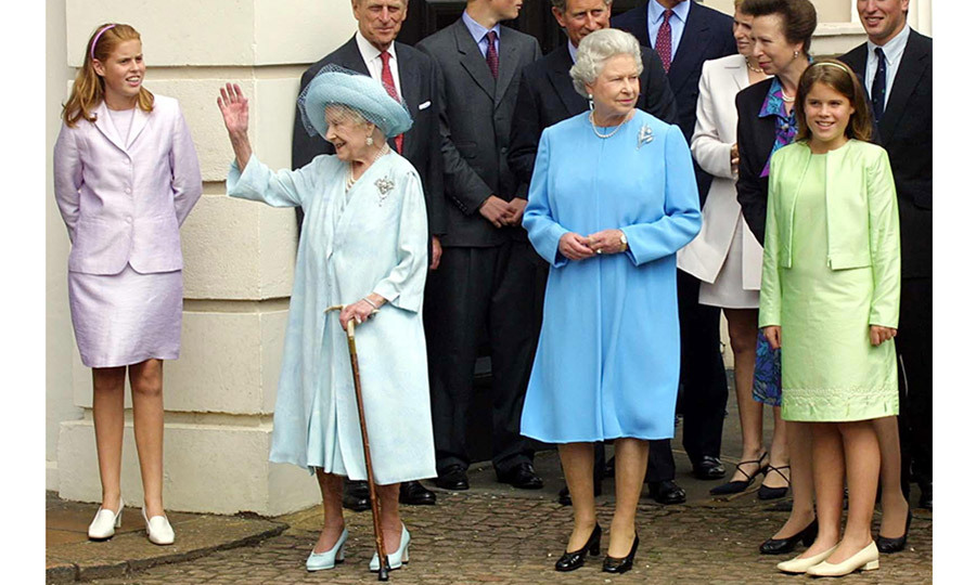 Three generations of royals! Princess Beatrice, far left, and Princess Eugenie, far right, were matching in pastels with their grandmother Queen Elizabeth II and great-grandmother Queen Elizabeth, the Queen Mother, for the Queen Mother's 101st birthday at Clarence House in  August 2001. 