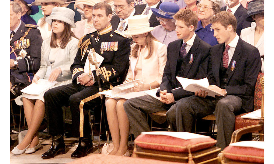 Eugenie and Beatrice, flanking their father Prince Andrew, were seated alongside their cousins Harry and William for the St Paul's Cathedral service in celebration of Queen Elizabeth II's Golden Jubilee in June 2002.