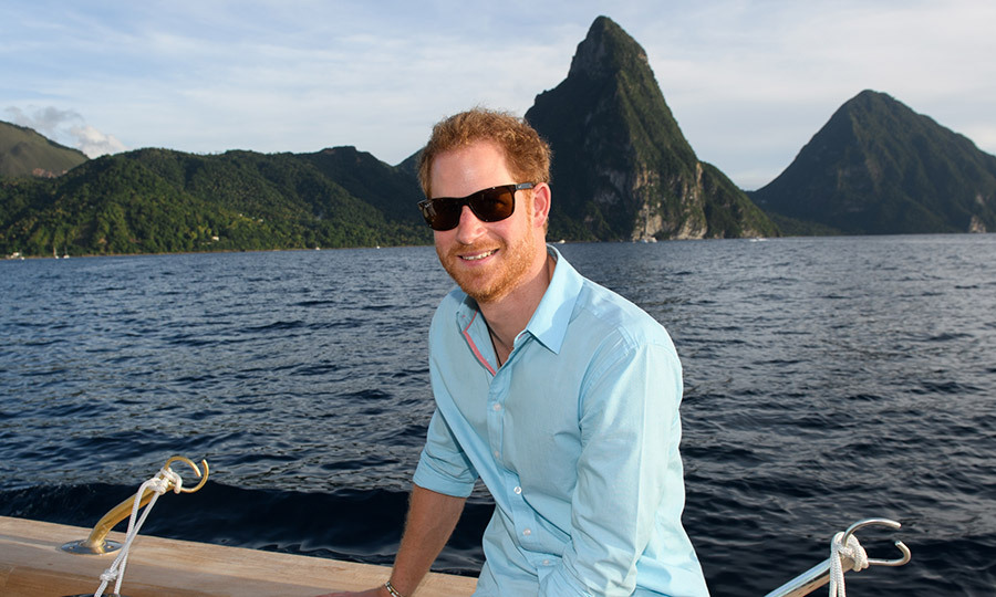 I'm on a boat! Prince Harry was laid-back and cool as he cruised the waters off of Soufriere on the sixth day of an official visit to St Lucia on November 25, 2016.