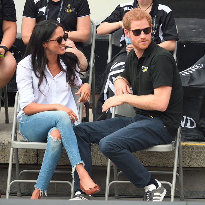 Eight months before their spring 2018 royal wedding,  Meghan Markle and Prince Harry were in sync in their sunnies at the Wheelchair Tennis match on day 3 of the Invictus Games Toronto 2017. The September 25, 2017 event was their first-ever public appearance as a couple. 